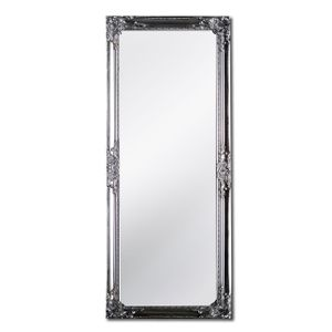 Rococo by Casa Chic Silberner Shabby Chic Spiegel zum Hinstellen oder Aufhängen - Handgefertigt - Barock - Groß - 130x45 cm - Antik Silber