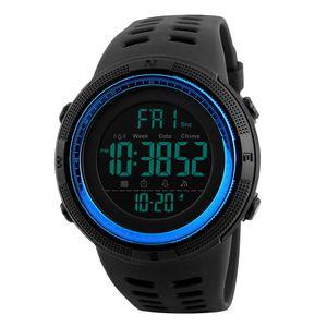 1251 Mens Digital Sports Watch Wasserdichte Stoppuhr Countdown Blau 250mm Optionen Sport Armbanduhr