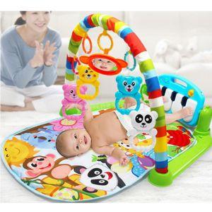 Spielmatte für Babys, Krabbeldecke mit Spielbogen und Füßchenklavier, Baby Spieldecke Babybett Musik-Activity
