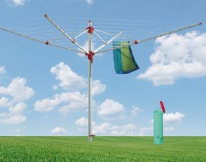 BLOME Wäschespinne Standard Polaris - Wäscheständer für den Garten inkl. Bodenhülse mit Deckel, Wäscheschirm mit 60m Wäscheleine, hochwertig & stabil,  Germany