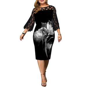 Damen Plus Size Spitzen Ärmel Partykleid Blumen bedruckte Kleider Sommerkleid Größe,L