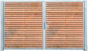 Einfahrtstor Flügeltor Gartentor Verzinkt Holz-Tor quer Symmetrisch 2-flügelig 250cm x 180cm