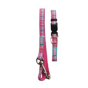 Hemm & Boo Welpen Halsband und Leinen Set Karo Pink BT994 (Einheitsgröße) (kann variieren)