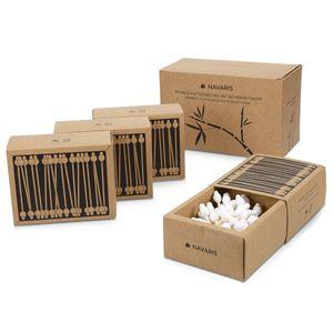 Navaris 220 Öko Wattestäbchen aus Bambus im Set - Ohrenstäbchen nachhaltig aus Holz und Baumwolle mit Sicherheitskopf - vegan biologisch abbaubar