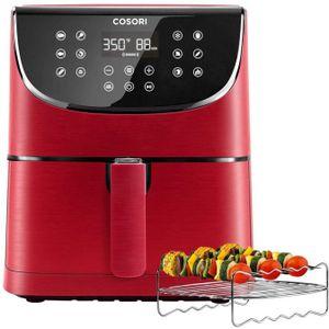 Cosori Premium 5,5-Liter Heißluftfritteuse mit Spießregalsatz Rot