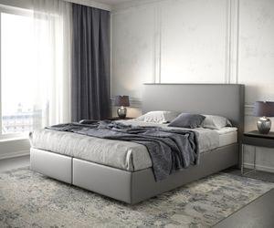Bett Dream-Well Kunstleder Grau 160x200 cm mit Matratze und Topper