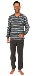 Edler Herren Frottee Schlafanzug Pyjama mit Bündchen in Streifenoptik - 291 101 13 580, Farbe:grau-melange, Größe:54