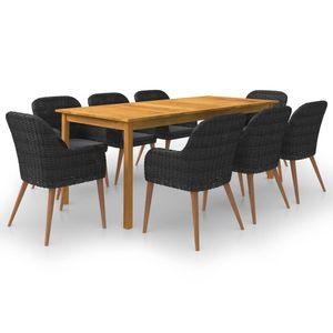Gartenmöbel Essgruppe 8 Personen ,9-TLG. Terrassenmöbel Balkonset Sitzgruppe: Tisch mit 8 Stühle Schwarz❀3989