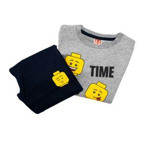 Lego Kinder Pyjama Set - Langarmshirt mit Hose - Grau / Blau, Größe:140
