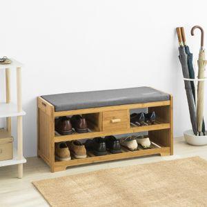 SoBuy FSR75-N Sitzbank mit Stauraum Schuhregal mit 2 Ablagen und Schublade Garderobenbank Schuhbank mit Sitzfläche Belastbarkeit 180kg Bambus