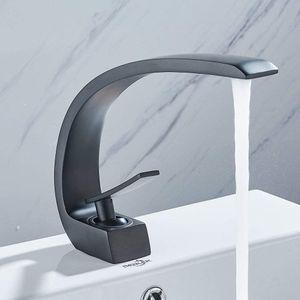 Messing Waschbeckenarmatur Wasserhahn Bad Wasserfall Armatur Küchenarmatur Einhebelmischer Schwarz