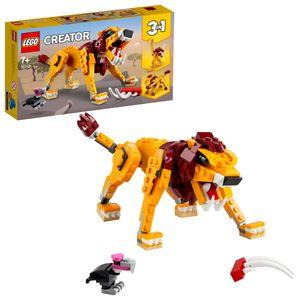 LEGO 31112 Creator 3-in-1 Wilder Löwe, Strauß und Warzenschwein Set, Spielzeugtiere für Kinder