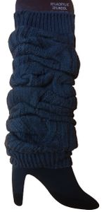 GKA 1 Paar Damen Beinstulpen schwarz Strick Stulpen Beinwärmer Strümpfe Socken Wadenwärmer gestrickt Zopfmuster