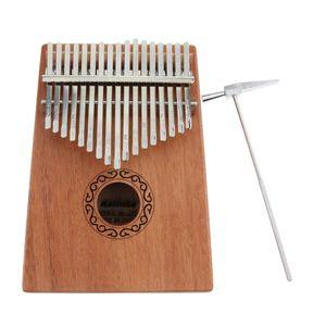 Kalimba Daumenklavier 17 Schlüssel Daumen-Klavier mit Stimmhammer, Mahagoni Finger-Klavier Geschenk für Kinder Erwachsene Anfänger Musikliebhaber