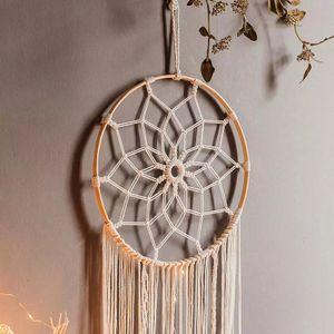MEIYOU Traumfänger Handgefertigt, Großer Boho Traumfänger mit weißer Makramee Wandbehang Ornament  Schlafzimmer Wohnzimmer Dekoration