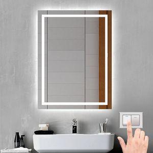 Badspiegel 50x70 cm mit Beleuchtung Badezimmerspiegel Wandspiegel mit Licht-Schalter, Beschlagfrei, Kaltweiß, IP44