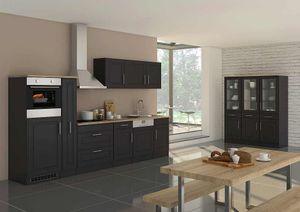 Küchenblock Rom 330 cm mit Apothekerschrank im Landhaus Stil grau matt ohne Elektrogeräte
