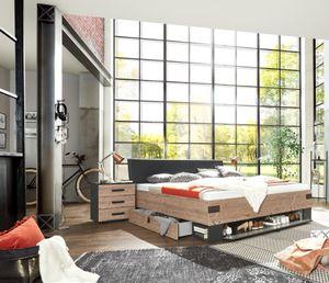 Bett 180 Doppelbett Bettanlage 3-tlg. STOCKHOLM Nachtkommoden grau braun Tanne