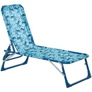 Outsunny Kinder Sonnenliege 180° verstellbar Strandliege Gartenliege Relaxliege Klappbar für 2-6 Jahre Metall Polyester Blau+Grün 118 x 40 x 24 cm
