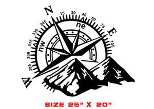 60x50cm Schwarz Auto Aufkleber Aufkleber Großer Kompass Navigation Berge Camper ○ schwarz