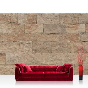 Vlies Fototapete no. 4304 - 400X280 cm - 4304 Steinwand Tapete Steinoptik Sandstein Steine Wand 3D Steintapete braun by liwwing (R)
