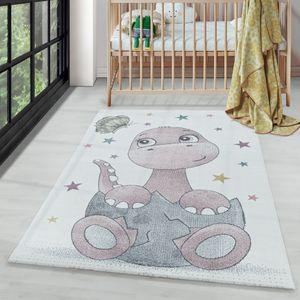 Kurzflor Kinderteppich Design Dino Baby Saurier Kinderzimmer Teppich Rosa, Farbe:Pink, Grösse:120x170 cm