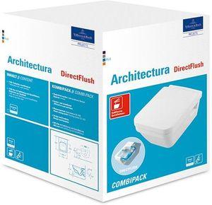 Villeroy & Boch Combi-Pack ARCHITECTURA inkl. Wand-WC tief, spülrandlos DirectFlush und WC-Sitz weiß