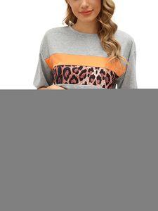 Sexydance Frauen Leopardenmuster Schlafanzüge Zweiteiliger Anzug Pyjamas Set Homewear,Farbe:Grau,Größe:L