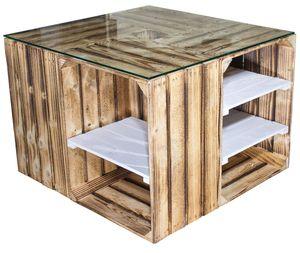 1x Weißer Couchtisch mit geflammten Regalböden & Glasplatte, aus hochkanten Obstkisten, auch als Lounge Tisch, neu, 70x70x50cm