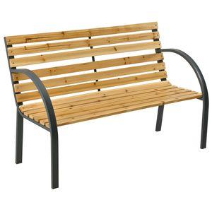 Gartenbank Modena – 2-Sitzer Holzbank mit Armlehnen & Rückenlehne – wetterfeste Sitzbank 120x62x82 cm - Bank mit Seitenelementen aus Stahl | Juskys