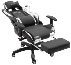 CLP Bürostuhl Turbo mit Fußablage Höhenverstellbar und drehbar, Farbe:schwarz/weiß, Material:Kunstleder (metallic)