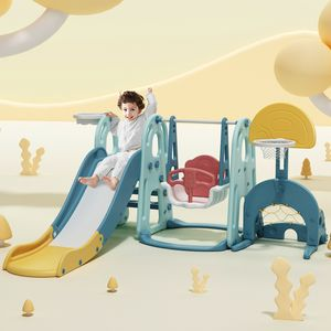 Spielplatz Kinder Rutsche mit Schaukel 5 in 1 Spielturm Kletterturm indoor Aktivitätszentrum für Kinder inkl. Basketballständer