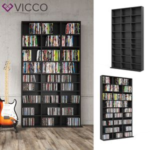VICCO Medienregal Jukebox CD DVD Bluray Regal Standregal Regalwand Schwarz