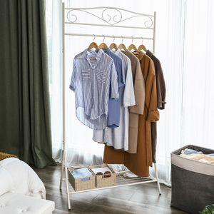 SONGMICS Garderobenständer mit Schuhablage 173 x 90 x 44,5 cm Metall Kleiderständer stabil cremeweiß HSR01W
