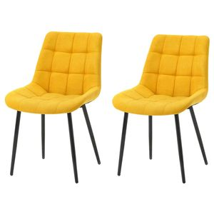 2er Set Esszimmerstuhl Polsterstuhl Stoffkissen-Akzentstühle Freizeit Beistellstühle Esszimmer Mit Metallbeine gelb