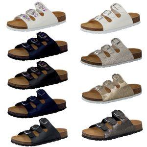 CAMPRELLA Damen Tieffußbettpantoletten 3‐Schnaller, Größe:39, Farbe:Weiß/Silber