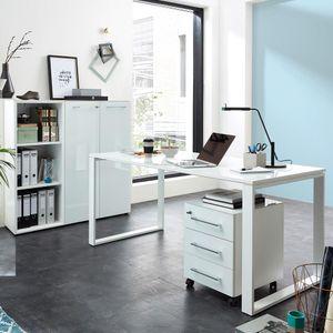 Büromöbel Set in weiß MONTERO-01 mit Glasfronten & Schreibtisch mit Glasplatte