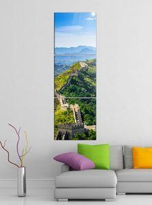 Leinwandbild 3tlg Chinesische Mauer China Asien Peking Bilder Druck auf Leinwand Vertikal Bild Kunstdruck mehrteilig Holz 9YA3924, Vertikal Größe:Gesamt 40x120cm