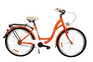 PolBaby Fahrrad Dutch Goose Shabby 26 Zoll Citybike Metallkorb-Orange