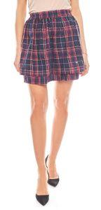 AjC Rock kurzer Damen Karo-Minirock aus Baumwolle Blau, Größe:40