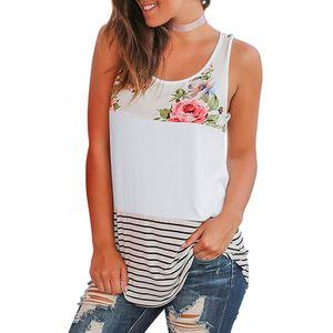 Mode Damen Sommer Ärmellose Weste Blumendruck Lässige Tank Tops Shirts Größe:M,Farbe:Weiß