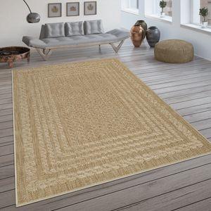 In- & Outdoor-Teppich, Flachgewebe Mit Skandi-Muster Und Sisal-Look In Beige, Grösse:120x170 cm