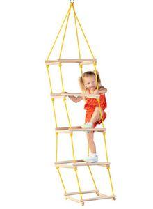 Woody Holz - Leiter / Kletterleiter mit 4 Seiten und 5 Stufen, Jakobsleiter