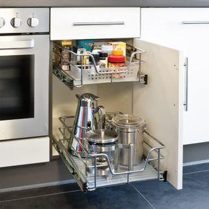 2x Teleskopschublade Küchenschublade 50cm, Küchenschrank Einhängeschublade Korbauszug Schlafzimmerschränke