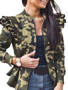 Frauen Zip Up Rüschen Kleiner Mantel Anzug Mantel Blazer Biker Jacke Outwear Tops,Farbe: Tarnung,Größe:XL