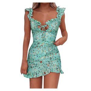 Damen Sommer  gedruckt lässig V-Ausschnitt Damenkleid Strand Kurzarm Kleid Größe:S,Farbe:Grün
