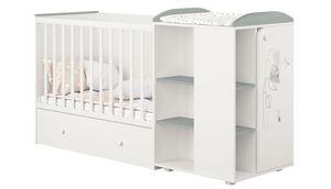 Polini Kombi-Kinderbett French 800 Amis mit Kommode weiß-grau, 2276.55