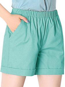 y Dance Damen Sommer Shorts Casual Beach Running Yoga Hot Pants,Farbe:Seeblau,Größe:XXL