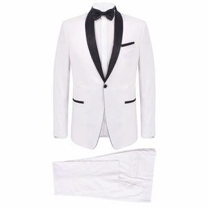 vidaXL Zweiteiliger Abendanzug Black Tie Smoking Herren Größe 46 Weiß