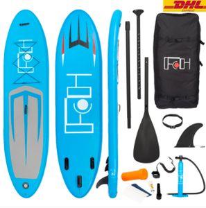 SOLEDI Aufblasbares Stand Up Paddle Board| 335 x 81 x 15 cm | bis 150kg | Pumpe Tragetasche Zubehör | SUP Board Paddling Board Paddelboard Surfboard | blau